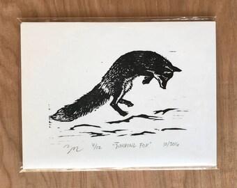 Jumping Fox Woodcut