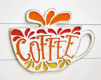 Coffee Cup Sign Wooden Kitchen Sign Coffee Bar Sign Cafe Sign Retro Coffee Sign