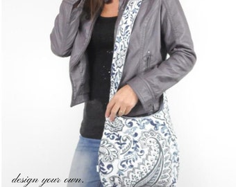 cross body bag medium purse. Design your own purse. Polka dots, chevrons, paisleys, linens and more. Fall trend colors blues, grays, taupes.