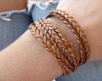double wrap leather braided bracelet in brown with lobster clasp chain closure. boho jewelry.