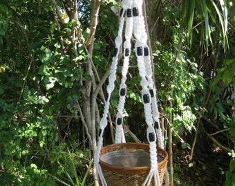 White 43 Inch Black Beads Macrame Plant Hanger