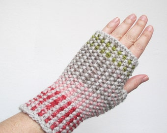 Fingerless Gloves - Hand Knit - One-of-a-kind - Neutrals & Pink - Adult - One Size Fits Most