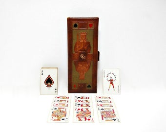 1946 Brown Bigelow 4 Complete Decks Playing Cards Mission Leather Case Midcentury Card Games Vintage 40s Bridge Euchre Set Kings Queens