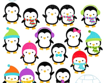 Penguins Clipart Set - clip art set of penguins, winter penguins, igloo, scarfs, hats - personal use, small commercial use, instant download