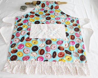 Ruffled Donuts on Turquoise Adult Apron with white sprinkles pocket and ruffle - made to order