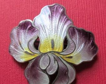 On Sale Foster Bailey Sterling Enamel Antique Iris Brooch Art Nouveau Flower Fob Pin