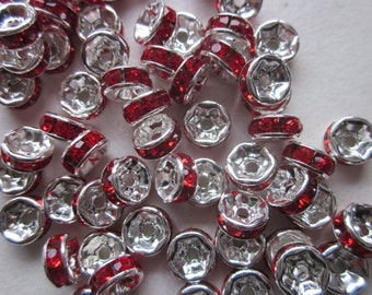 Red and Silver Rondelle Rhinestone Spacer Beads 6mm 20 Beads