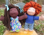 """RESERVED Custom Waldorf Brother and Sister Dolls for Mary - 12"""" Boy and Girl"""