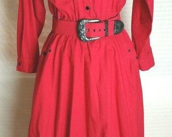Vintage 1980s SASSA LTD. Red Belted and Fringed Western Cowgirl Dress--Size M