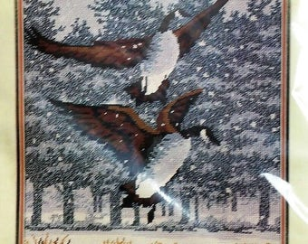 """MONARCH HORIZONS Needlepoint Kit #T1356 """"Canada Geese"""" by Roger W. Reinardy NEW"""