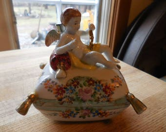 Vintage 1940s Occupied Japan Covered Dish with Angel/Cherub on Top of Pillow by Ardalt Lenwile Hand Painted China Porcelain Trinket Dish