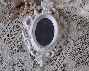 Petite Shabby white, baroque style wall mirror, smoky mirror