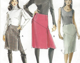 Womens Tailored Skirts Diagonal Yoke OOP Vogue Sewing Pattern V8518 Size 14 16 18 20 Hip 38 40 42 44 UnCut Vogue Sewing Patterns