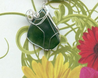 Wire-wrapped Moss Agate Pendant