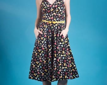 Day at the Vineyard Dress in Martini Time Print Made in the USA Vintage Retro Inspired Pinup Pin Up Rockabilly Tropical Cocktail Vacation