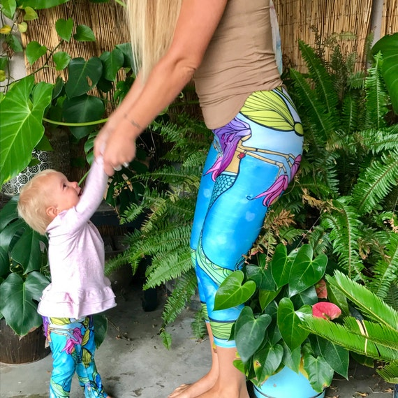 Mermaid Mama Eco Printed Capri Pants or Leggings, Mermaid Yoga Pants by Lauren Tannehill Art