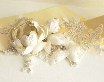 SALE 30% OFF Bridal sash or belt with pure silk dupioni flowers and Allencon corded lace - Ivory