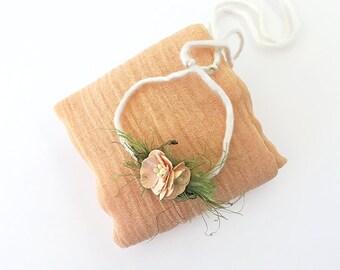 Peach and Cream Newborn Photo Prop, Peach Flower  Baby Head Tie - Halo Headband for Photography Prop, Crown Headband for Baby Shower Gift