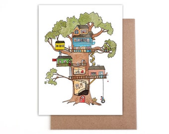 Tree house card 4x5 blank