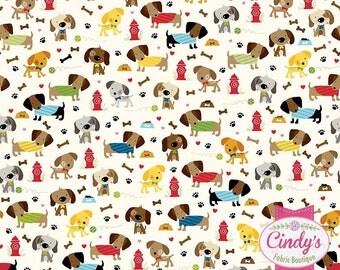 Rover Dog Park Puppy Riley Blake Cream Novelty cotton quilt fabric by 1/2 yard #C5211