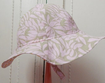 Girl Sun Hat, 12 to 24 Month Girl Sun Hat, Reversible Sun Hat