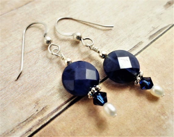 Blue Sodalite and White Freshwater Pearl Earrings