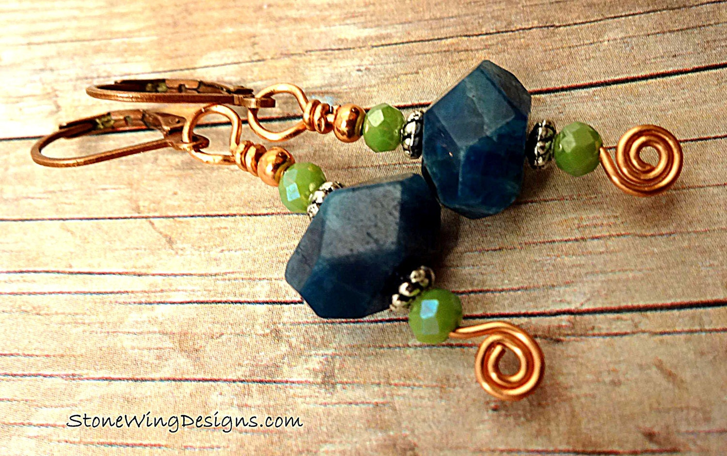 Apatite Nugget and Swirl Earrings