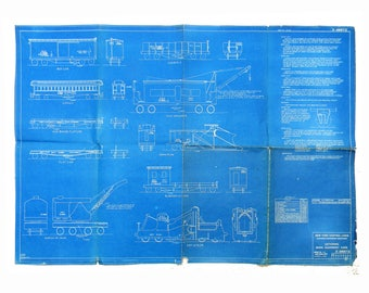 Original New York Central Lines Blueprint 1926 LETTERING TRAIN CARS