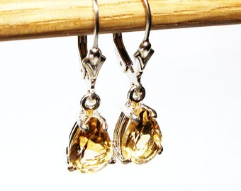 """Citrine, citrine earrings, citrine dangle earrings, citrine lever backs,  pear cut, golden yellow earrings,   """"Cats Meow"""""""