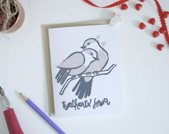 Block Print Greeting Card - Tweethearts Forever Valentine
