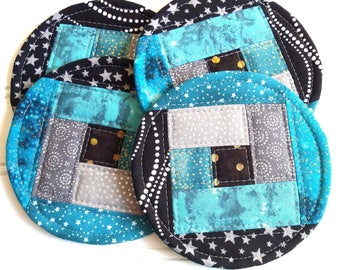 Fabric Coaster Set, Round Quilted Coasters, Teal Gray Black