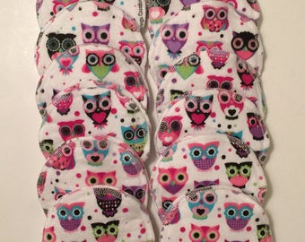Nursing pads/Facial Wipes 12 sets (24 total) made with 4 layers of 100% cottlon flannel Adorable Owl Pattern