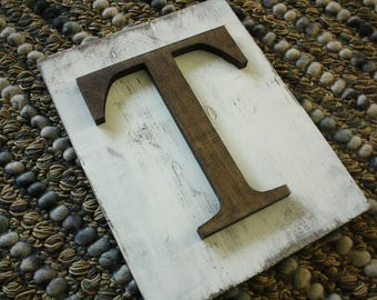 Rustic Letter Hanging Farmhouse letter T sign- Wall hanging READY TO SHIP T Wedding gift teacher gift