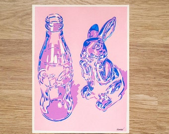 "Reflections on Glass Original Serigraph Hand Printed Screen Print Art 16"" x 12"" coca cola coke bottle fine silkscreen printing screenprint"