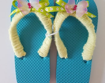 Girls Turquoise Flip Flop Crocheted With Yellow Yarn Lime Green Bow and Lavender Butterfly