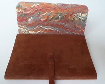 Leather Journal Leather Notebook Soft Rusty Brown Leather with Lovely Markings and an Antique Finish Lined with a Hand Made Marbled Paper.