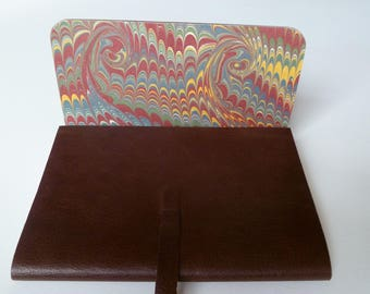 Fathers Day Leather Sketchbook Chestnut Brown Quality Leather with an Antique Finish Lined with an English Hand Made Marbled Paper.