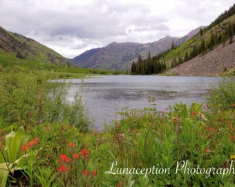 "Maroon Lake Colorado Photograph 8"" x 12"""