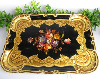 "Italian Florentine Serving Tray - Small 11.5"" Rectangle - Vintage Service Tray - Black and Golden Tones - Made in Italy"