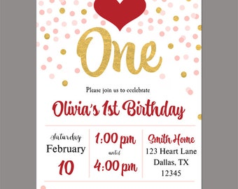 Valentine Confetti Invitation Printable or Printed with FREE SHIPPING - ANY Wording - Valentine Birthday, Valentines Party - First Birthday