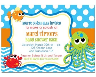 Under the Sea Baby Shower Invitation Printable or Printed with FREE SHIPPING -Beach, Sea Birthday or Baby Shower - Under the Sea Collection