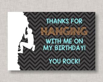 Rock Climbing Thank You Card, Thank You Card, Rock Climbing Birthday Thank You, Thank You Note, Rock Climbing Birthday, Printable