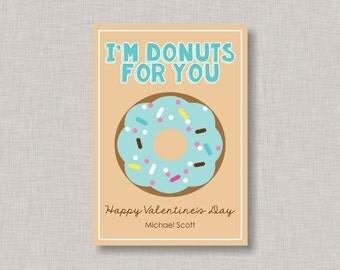 Donut Valentine Card, Classroom Valentines, Classroom Valentine's Day Card, Kids Valentine Cards, Kids Valentines, Boy Valentines, Donuts