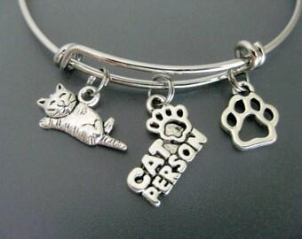 Cat Bracelet / Cat Bangle / Cat Lover / Cat Person / Charm Bangle / Adjustable Bracelet / Expandable Bracelet / Cat Adoption / Animal Rescue
