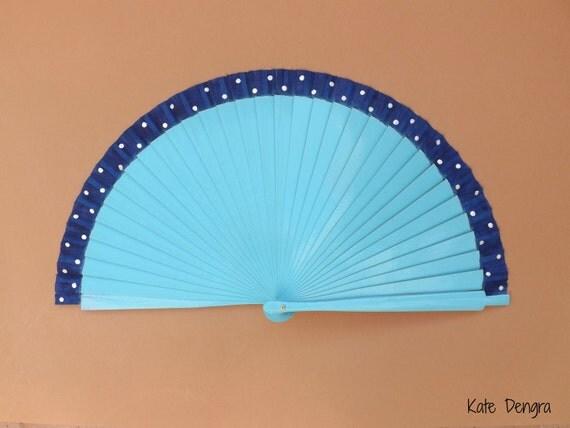 Beautiful Turquoise and Navy Polka Dot Border Fabric Hand Fan Wood Folding Fan Handheld Fan LAST ONE