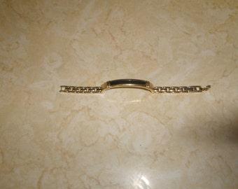 vintage bracelet goldtone chain black enamel