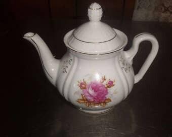 vintage teapot coffee white pink rose