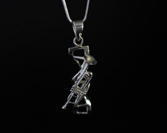 DNA double helix science genetic  trumpet sterling silver pendant