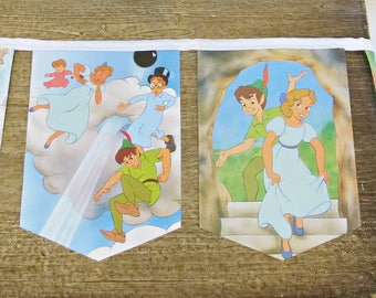 Peter Pan Bunting. Children Room Decoration Disney Garland. White Party Baby Shower Photo Prop Storybook Domum Vindemia Handmade Nursery