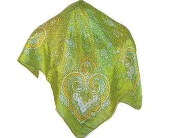 60s Paisley Scarf Green Paisley Scarf Large Square Scarf 1960s Neckerchief Green Head Scarf Square Green Scarf Square Paisley Scarf